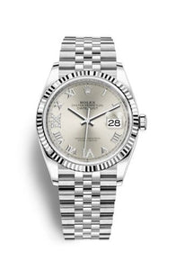 Authentic Rolex Datejust 36 Stainless Steel Fluted Silver Roman-Diamonds Jubilee 126234-0029 Watch