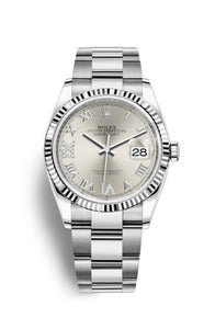 Authentic Rolex Datejust 36 Stainless Steel Fluted Silver Roman-Diamonds Oyster 126234-0030 Watch