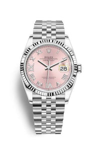 Authentic Rolex Datejust 36 Stainless Steel Fluted Pink Roman-Diamonds Jubilee 126234-0031 Watch