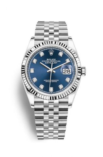 Authentic Rolex Datejust 36 Stainless Steel Fluted Blue-Diamond Jubilee 126234-0037 Watch