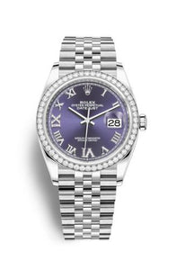 Authentic Rolex Datejust 36 Stainless Steel Diamond Aubergine Roman-Diamonds Jubilee 126284rbr-0013 Watch