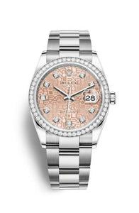 Authentic Rolex Datejust 36 Stainless Steel Diamond Pink Jubilee Oyster 126284rbr-0016 Watch