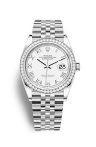 Authentic Rolex Datejust 36 Stainless Steel Diamond White Roman Jubilee 126284rbr-0017 Watch