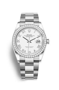 Authentic Rolex Datejust 36 Stainless Steel Diamond White Roman Oyster 126284rbr-0018 Watch