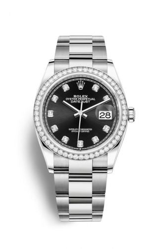 Authentic Rolex Datejust 36 Stainless Steel Diamond Black-Diamond Oyster 126284rbr-0020 Watch