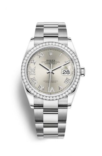 Authentic Rolex Datejust 36 Stainless Steel Diamond Silver Roman-Diamonds Oyster 126284rbr-0022 Watch