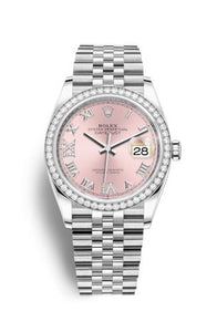 Authentic Rolex Datejust 36 Stainless Steel Diamond Pink Roman-Diamonds Jubilee 126284rbr-0023 Watch