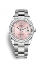 Load image into Gallery viewer, Authentic Rolex Datejust 36 Stainless Steel Diamond Pink Roman-Diamonds Oyster 126284rbr-0024 Watch