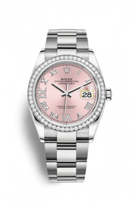 Authentic Rolex Datejust 36 Stainless Steel Diamond Pink Roman-Diamonds Oyster 126284rbr-0024 Watch