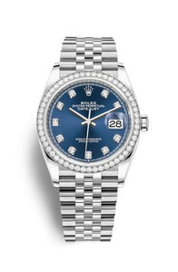 Authentic Rolex Datejust 36 Stainless Steel Diamond Blue-Diamond Jubilee 126284rbr-0029 Watch