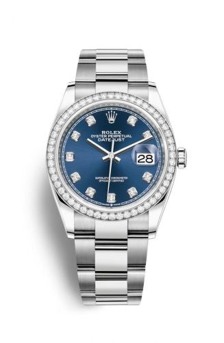 Authentic Rolex Datejust 36 Stainless Steel Diamond Blue-Diamond Oyster 126284rbr-0030 Watch