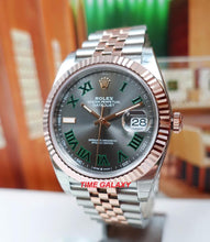 Load image into Gallery viewer, Rolex Datejust 41 Rolesor Everose Oystersteel Fluted Green Roman Jubilee 126331-0016
