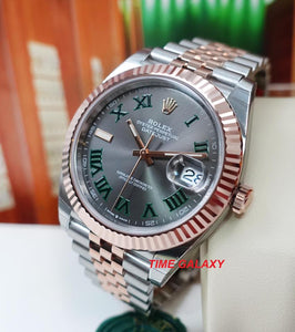 Buy Sell Rolex Datejust 41 Rolesor Everose Green Roman 126331 Jubilee at Time Galaxy