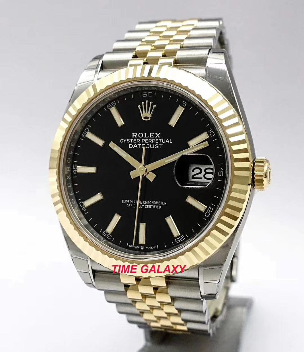 Rolex Datejust 41 Rolesor Yellow Gold Fluted Jubilee Black 126333-0014