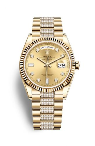Authentic Rolex Day-date 36 Yellow Gold Fluted Champagne Diamond President 128238-0026 Watch
