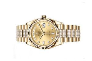 Rolex 128238-0026 made of yellow gold, sapphire glass, champagne dial, diamond indexes