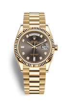 Load image into Gallery viewer, Authentic Rolex Day-date 36 Yellow Gold Fluted Dark Grey Diamond President 128238-0022 Watch