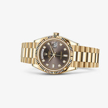 Load image into Gallery viewer, Rolex 128238-0022 made of yellow gold, sapphire glass, grey dial, diamond indexes
