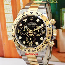 Load image into Gallery viewer, Rolex Cosmograph Daytona Rolesor Oystersteel Yellow Gold Black Diamond 116503-0008 Watch