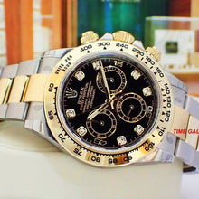 Load image into Gallery viewer, Rolex 116503-0008 made of rolesor, yellow gold, black dial, diamond indexes