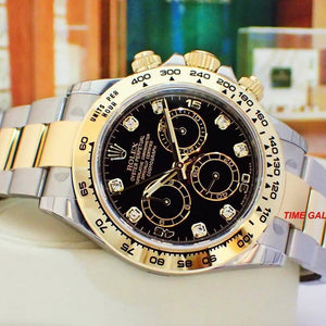 Rolex 116503-0008 made of rolesor, yellow gold, black dial, diamond indexes