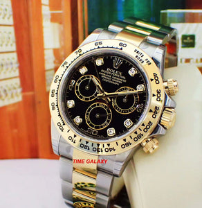 Buy Sell Trade Rolex Daytona Rolesor Yellow Gold Black Diamond at Time Galaxy