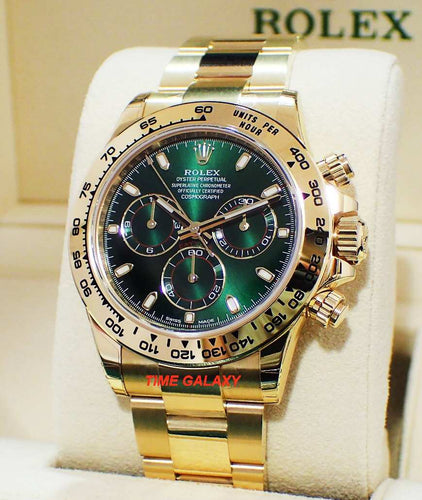 Rolex Cosmograph Daytona Yellow Gold Green Oyster 116508-0013 Watch