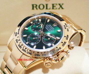 Rolex M116508 features Green dial, made of Yellow Gold and sapphire glass