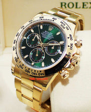 Load image into Gallery viewer, Buy Sell Trade Rolex Daytona Yellow Gold Green 116508 at Time Galaxy