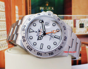 Rolex 216570-0001 features white dial, arrow shaped 24 hour hand and hour markers in Chromalight