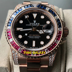 Rolex GMT-Master II Rose Gold Diamond 126755SARU Pepsi