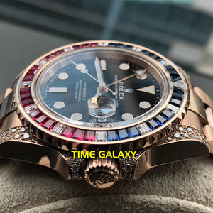 Rolex 126755SARU made of Rose Gold and Gem-set bezel