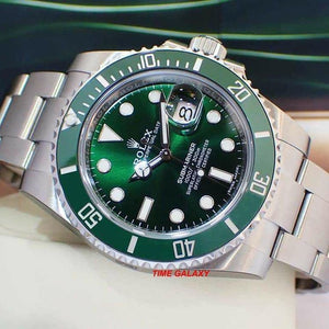 Rolex 116610LV features green dial, mixed indexes, Mercedes hands