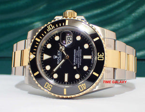 Rolex 116613LN made of sapphire glass, rolesor, black dial, mercedes hands