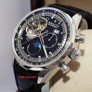 Pre-Owned Zenith 03.2160.4047 black dial, moonphase, made of stainless steel and sapphire glass