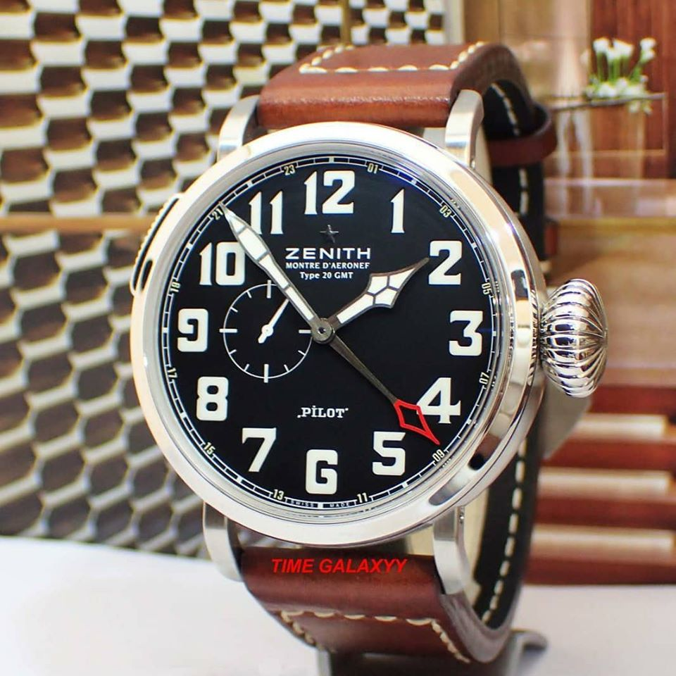 Pre-owned Authentic Zenith Pilot Montre D'Aeronef Type 20 GMT Men's Watch