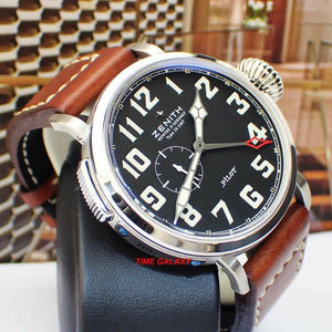 Used Zenith 03.2430.693/21.C723 watch powered by Elite 693 caliber, black dial, calfskin leather strap