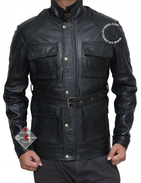 Black Leather Four Pocket Belted Jacket Men