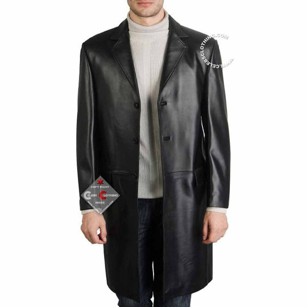 Cowhide Long Black Leather Coat