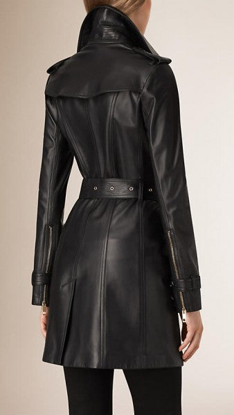 Women Lambskin Double Breasted Long Black Coat