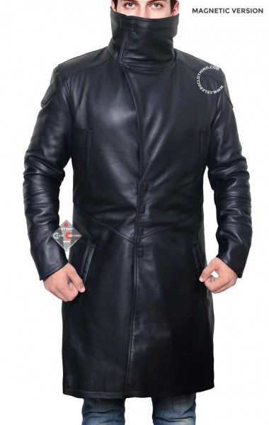 Winter Shearling Black Trench Coat for Men