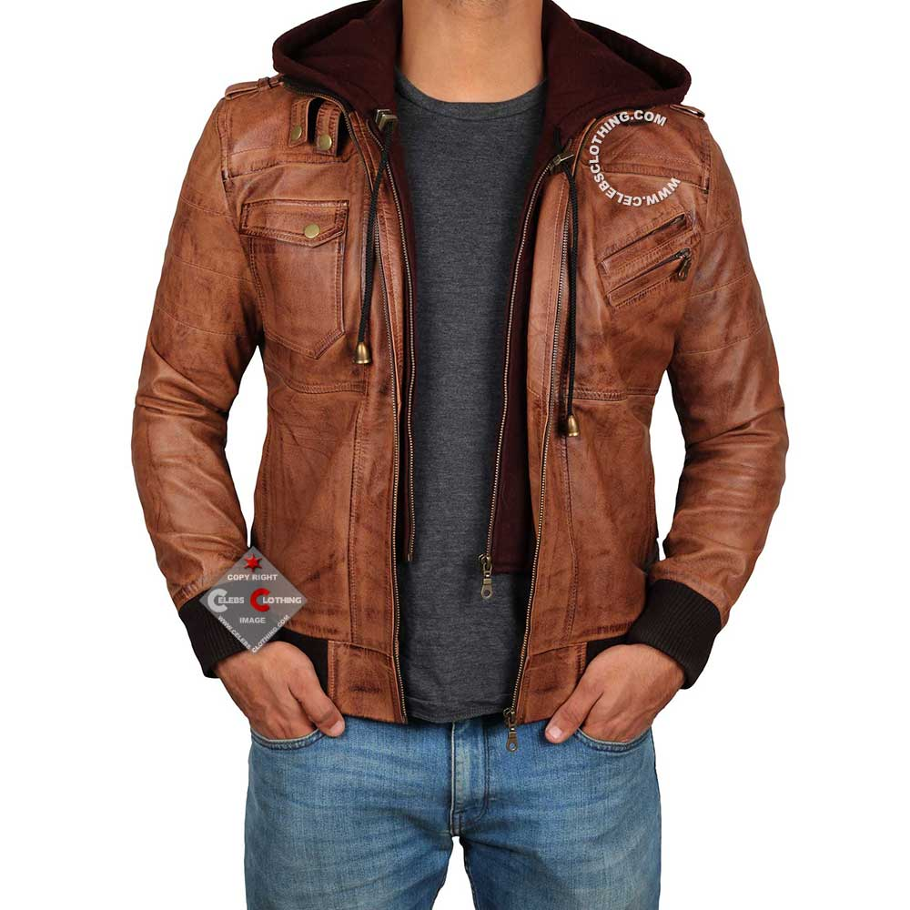 4a9fcad3 Edinburgh Mens Leather Bomber Jacket With Hood