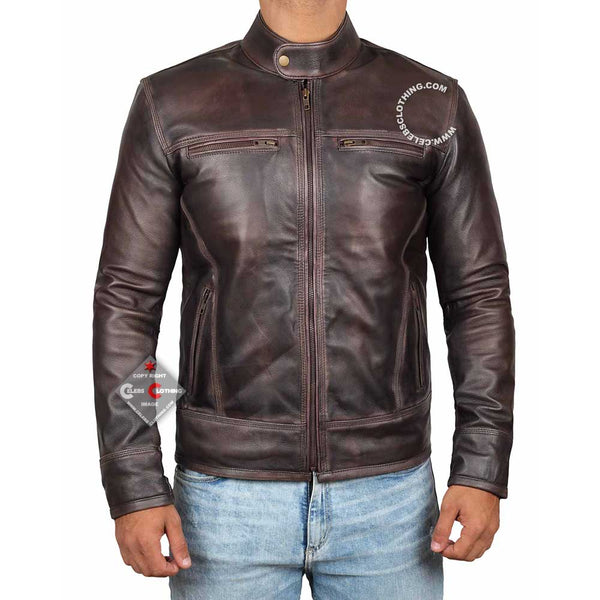 Texas Distressed Brown Leather Biker Jacket