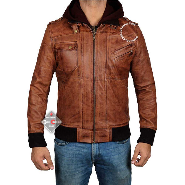 Edinburgh Mens Leather Bomber Jacket With Hood