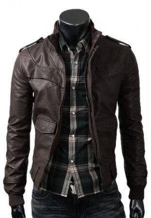 Dark Brown Slim Fit Leather Jacket