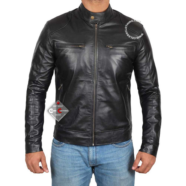 Dodge Mens Black Leather Biker Jacket