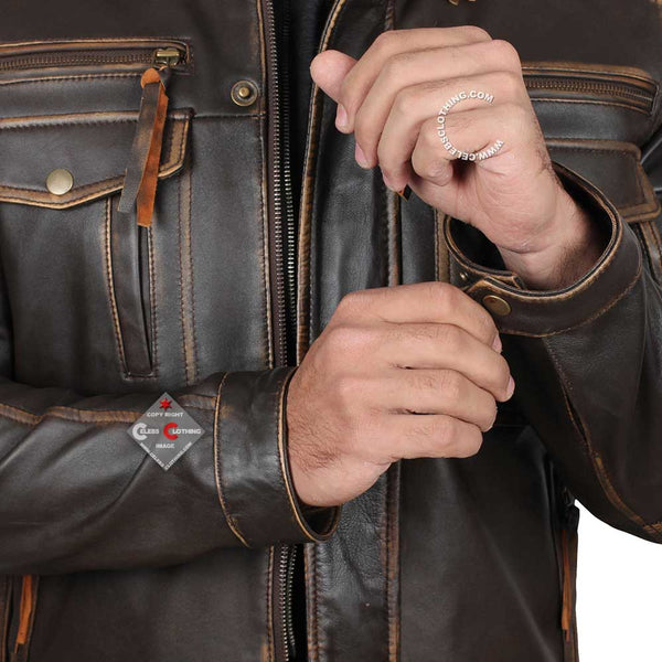 Moffit Dark Brown Distressed Leather Jacket