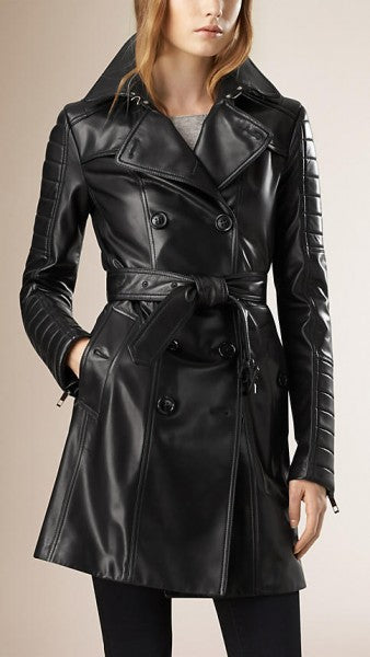 Women Black Lambskin Double Breasted Trench Coat