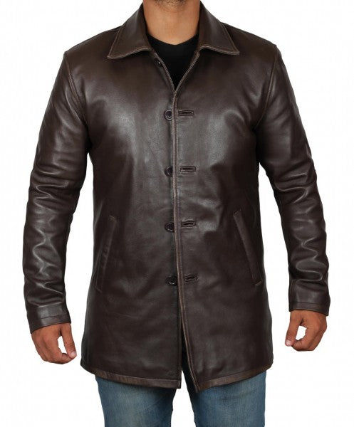 Brown Distressed Leather Jackets for Men