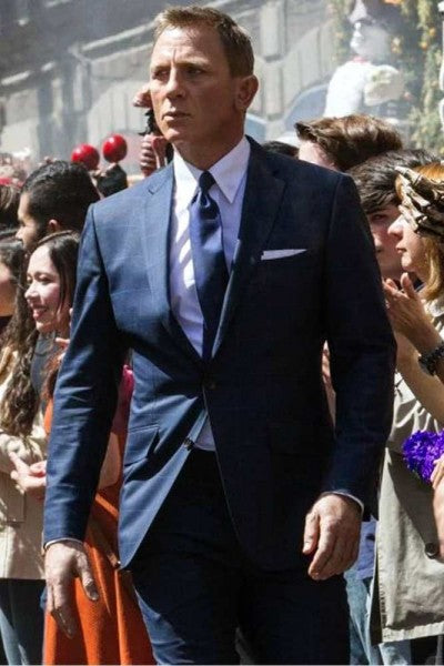 James Bond Spectre Blue Windowpane Suit